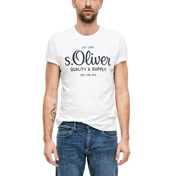 T-Shirt mit Label-Print - Jersey-T-Shirt