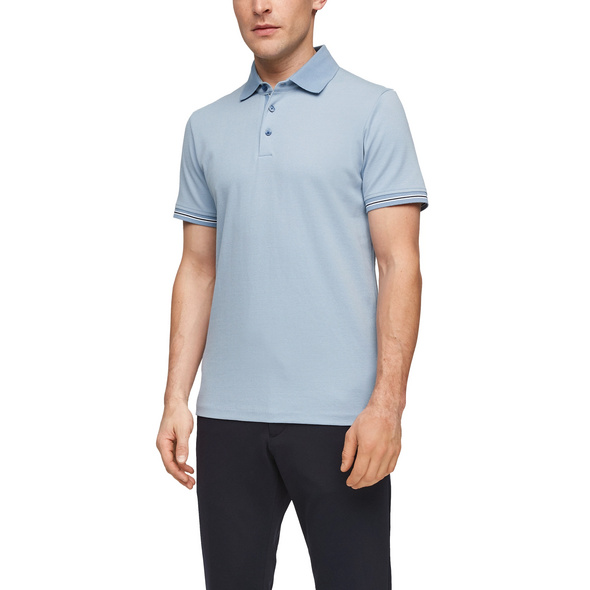 Poloshirt mit Streifenbündchen - Poloshirt