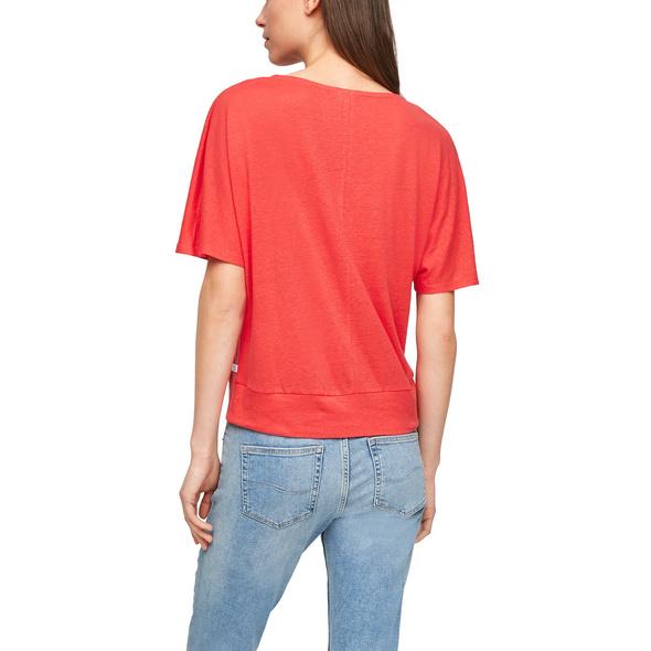 Leinenmix-Shirt mit V-Ausschnitt - T-Shirt