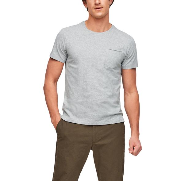 Melange-Shirt mit Brusttasche - T-Shirt