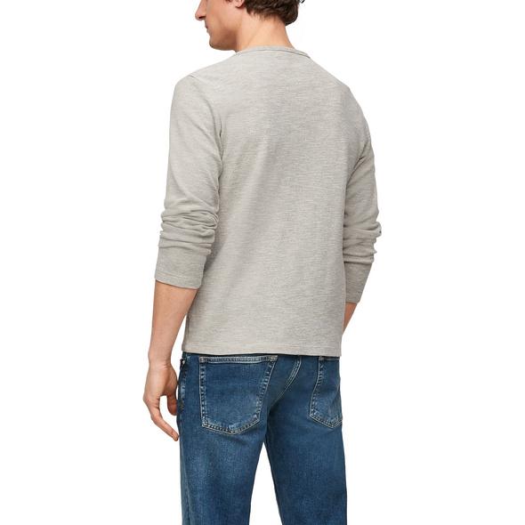 Henleyshirt mit Waffelstruktur - Langarmshirt
