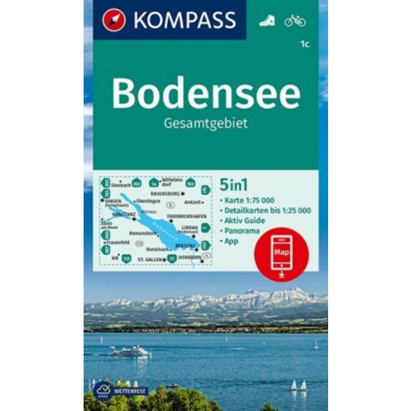 KOMPASS Wanderkarte Bodensee Gesamtgebiet 1:75 000