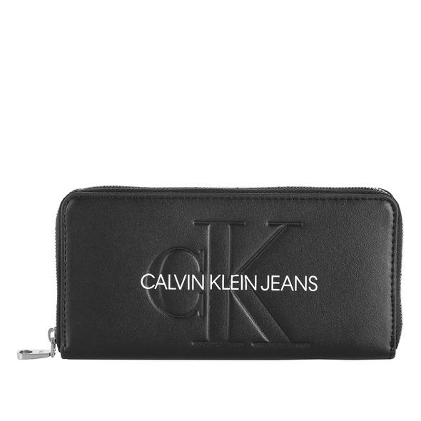 Calvin Klein Jeans Portmonee Damen Sculpted Large Ziparound schwarz