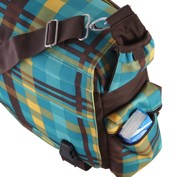 CEEVEE Leather Messenger Bag Manchester grey/turquoise
