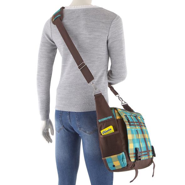 CEEVEE Leather Messenger Bag Manchester caro/petrol