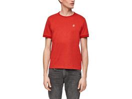 Meliertes T-Shirt mit Stickerei - Jerseyshirt