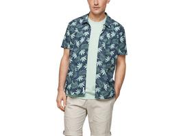 Slim Fit: Hemd mit Alloverprint - Kurzarmhemd